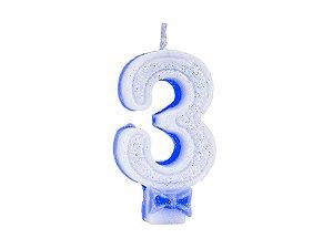 Vela de Aniversário com Glitter Número 3 Azul - Catelândia