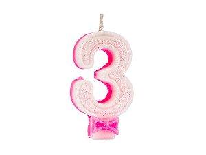Vela de Aniversário com Glitter Número 3 Rosa - Catelândia