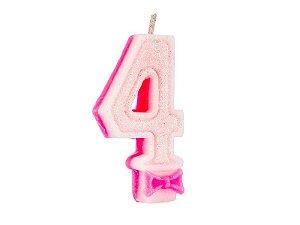Vela de Aniversário com Glitter Número 4 Rosa - Catelândia