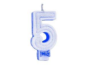 Vela de Aniversário com Glitter Número 5 Azul - Catelândia