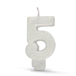 Vela de Aniversário com Glitter Número 5 Branca - Catelândia