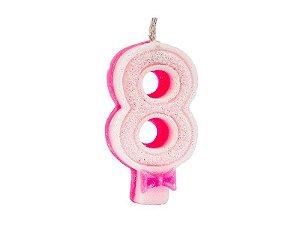 Vela de Aniversário com Glitter Número 8 Rosa - Catelândia