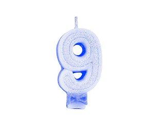 Vela de Aniversário com Glitter Número 9 Azul - Catelândia