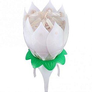 Vela Flor que Abre e Canta Parabéns Importada Branca - Catelândia