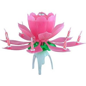 Vela Flor que Abre e Canta Parabéns Importada Rosa - Catelândia