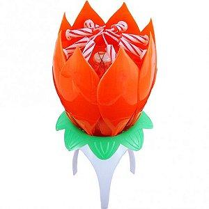 Vela Flor que Abre e Canta Parabéns Importada Vermelha - Catelândia