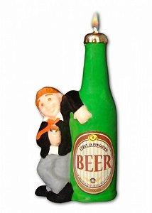 Vela Homem Escorado na Garrafa de Cerveja Manguaça Beer 01 Un - Catelândia
