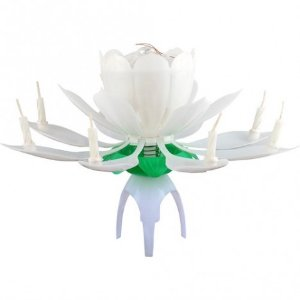Vela que Abre, Canta Parabéns e Gira Florivela Giratória Branca - Catelândia
