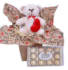 Urso de Pelúcia com Coração e Ferrero Rocher