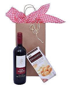 Kit Vinho e Chocolate Amandita Embalagem de Presente