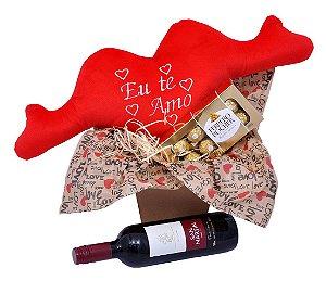 Kit Presente Criativo Namorados Coração Vinho e Bombom