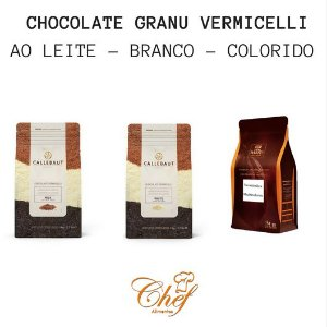 Granulado vermicelli Callebaut - 1kg - ao leite/branco/colorido