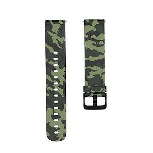 Pulseira camuflada verde - 20 mm (BIP, Gear S2, etc)