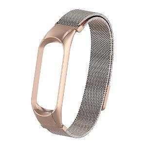 Metal Bronze com fecho magnético e engate seguro  - Mi Band 3/4