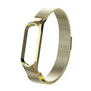 Metal Dourado com Trava de Segurança - Mi Band 5 e 6