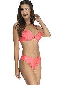 Conjunto Du Sell Biquíni Dry UV Básico Franzido Rosa Neon e Cores 3318