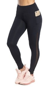 Legging Du Sell Compression Com Bolso e Tule Ref. 5716