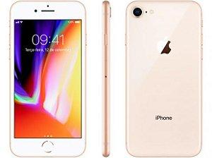 iPhone 8 Apple com iOS 11, Câmera de 12 MP, Resistente à Água, Wi-Fi, 4G LTE e NFC, 64GB, Dourado, Tela HD de 4,7