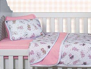 Jogo Lençol Berço Bebê Estampado - Bichinhos Rosa - Sulbrasil - 3 Peças