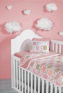 Jogo Lençol Berço Bebê Estampado - Ovelhinhas Rosa - Sulbrasil - 3 Peças