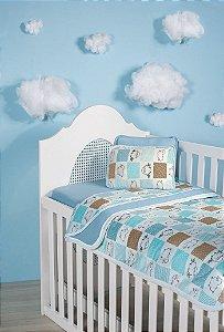 Jogo Lençol Berço Bebê Estampado - Ovelhinhas Azul - Sulbrasil - 3 Peças