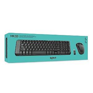 Teclado e Mouse Logitech MK220 Sem Fio Compacto Preto ABNT2 - 920-004431