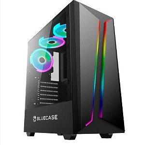 Gabinete gamer preto bg-038 s/fonte usb 3.0 bluecase