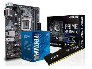 Kit Processador Core G5400 GOLD + H310M-K Asus + 8GB Hyperx Fury DDR4