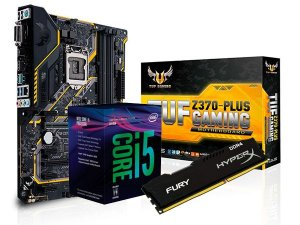 KIT PROCESSADOR CORE I5 8400 + Z370-PLUS TUF GAMING ASUS + 8GB HYPERX FURY DDR4
