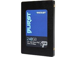 SSD Patriot Burst, 240GB, Sata III, Leitura 555MBs e Gravação 500MBs, PBU240GS25SSDR