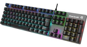 Teclado Mecânico Gamer Fortrek G RBW Black Hawak, RGB, Switch KRGD Blue, ABNT2, Dark Grey - 70548