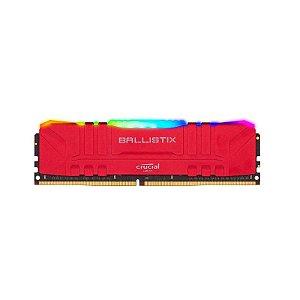 Memoria 16gb Ddr4 3200mhz Ballistix RGB Vermelha - Desktop