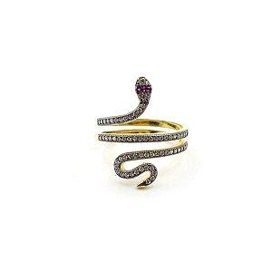 Anel Dourado Serpente