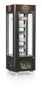 Expositor Vitrine para Bolos e Tortas com Prateleira Giratória e Iluminação em LED Preto - GEVB-075PR - Gelopar