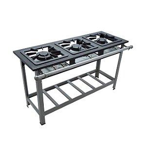 Fogão Industrial Baixa Pressão 3 bocas sem forno - Linha S2000 30x30 M7 - Metalmaq