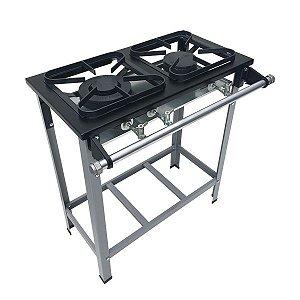 Fogão Industrial Baixa Pressão 2 bocas sem forno 1QD/1QS - Linha S2020 30x30 M6 - Metalmaq