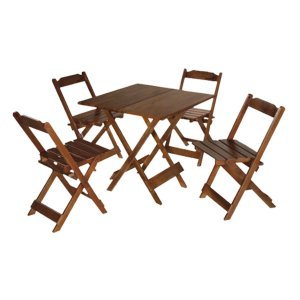 Conjunto Mesa com 4 cadeiras Maplan Imbuia - 70 x 70 cm