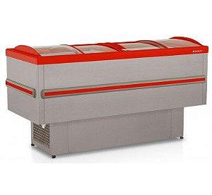 Expositor Ilha VIP Dupla Ação tipo Inox Vidro Curvo Deslizante Colarinho Vermelho em PVC GESV-190VMI Gelopar