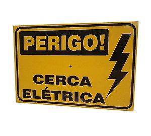5x Placa De Sinalização - Perigo Cerca Elétrica - 18x14