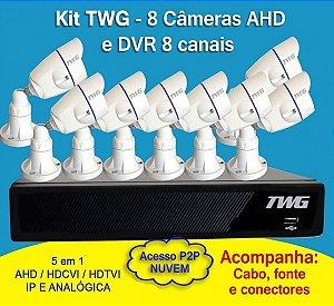 Kit TWG 8 Câmeras + DVR TWG de 8 Canais 5 em 1