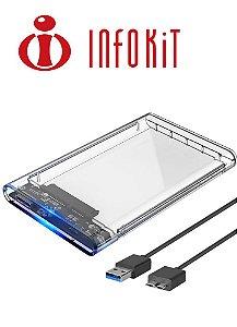 CASE PARA HD 2.5 TRANSPARENTE USB 3.0 SATA HHD OU SSD - ECASE-300