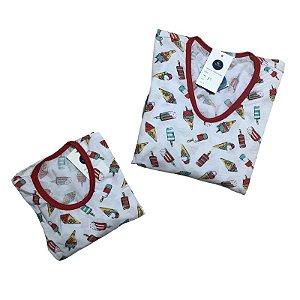 Kit 2 Pijamas Mãe e Filho Sorvetes
