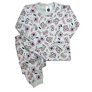 Pijama Infantil 100% Algodão PUNHO PINCEL ROSA