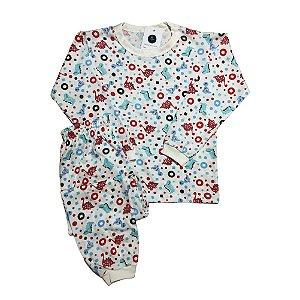 Pijama Infantil 100% Algodão PUNHO DINOS GRÁFICO