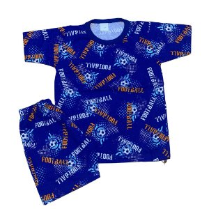 Pijama Infantil 100% Algodão Manga Curta FUTEBOL ROYAL