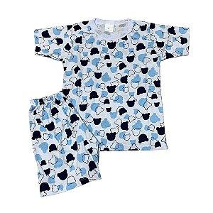 Pijama Infantil 100% Algodão Manga Curta MICKEY AZUL