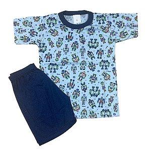 Pijama Infantil Malha Fria ROBÔS