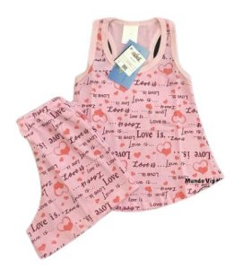 Pijama Infantil 100% Algodão Short Doll LOVE