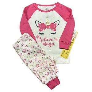 Pijama Infantil SLIM Unicórnio Rosa