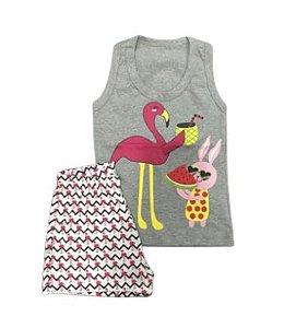 Pijama Infantil 100% Algodão Regata Flamingo